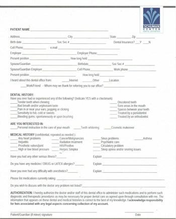 schuman center new patient form